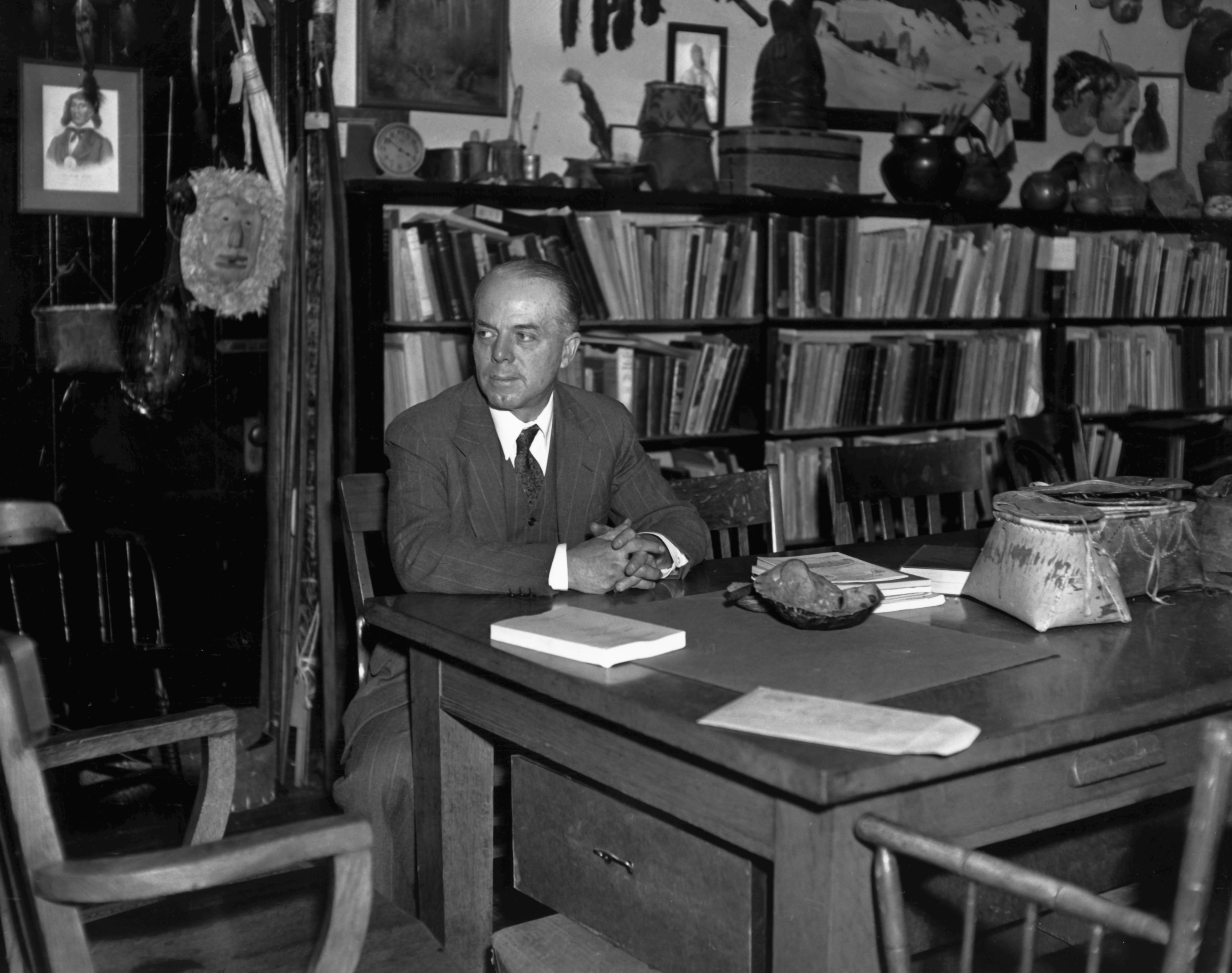 Frank G. Speck in his College Hall office at the 